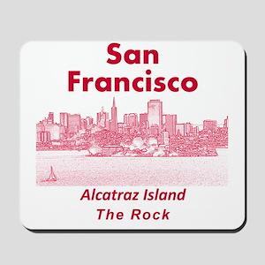 SanFrancisco_10x10_v1_AlcatrazIsland_Red Mousepad