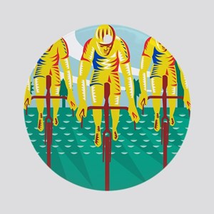 Cyclist Riding Bicycle Cycling Retr Round Ornament