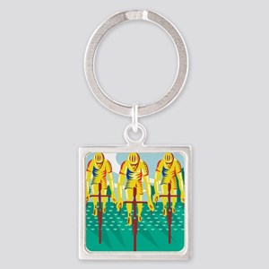 Cyclist Riding Bicycle Cycling Ret Square Keychain