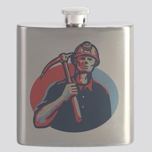 Coal Miner Pick Axe Retro Flask