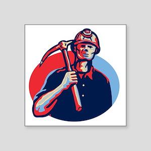 """Coal Miner Pick Axe Retro Square Sticker 3"""" x 3"""""""
