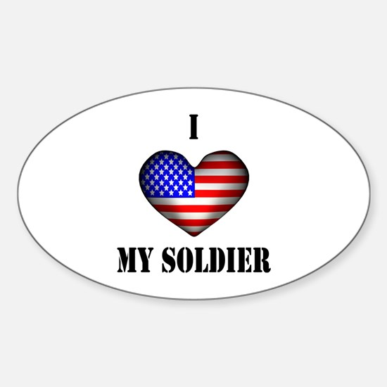 I HEART my soldier - USA Flag Oval Decal