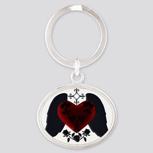 Black Winged Goth Heart Oval Keychain