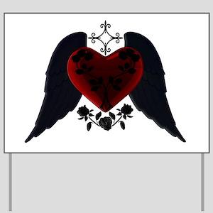 Black Winged Goth Heart Yard Sign