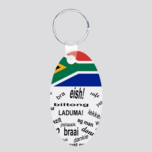South African Slang Aluminum Oval Keychain