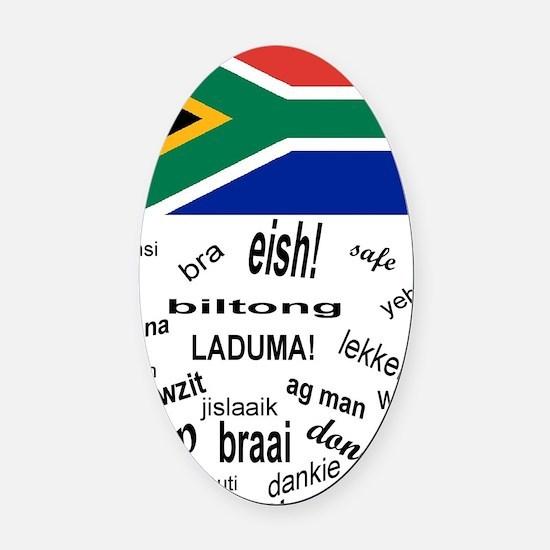 South African Slang Oval Car Magnet