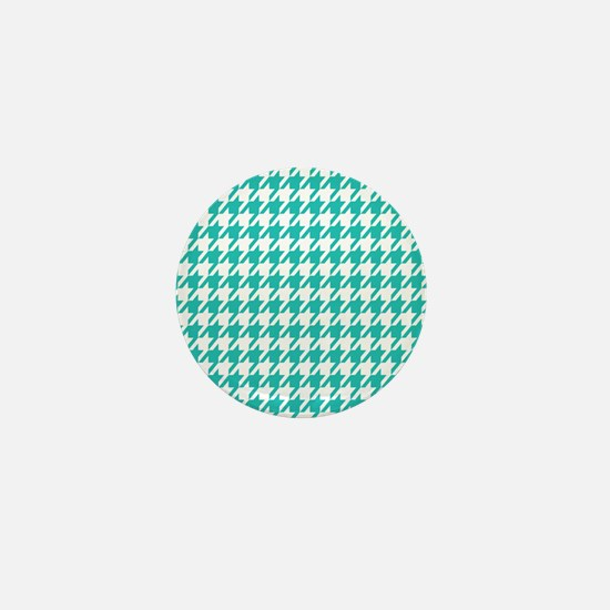 Turquoise Houndstooth Mini Button