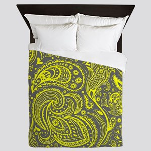 Yellow And Gray Vintage Floral Paisley Queen Duvet