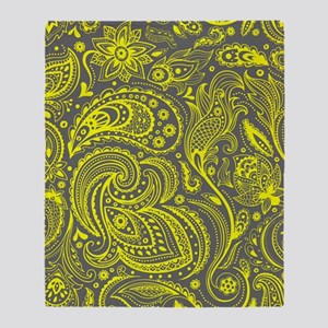 Yellow And Gray Vintage Floral Paisl Throw Blanket