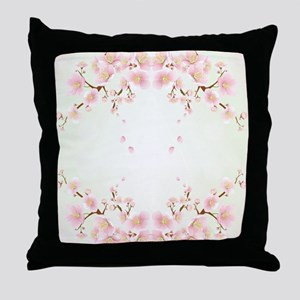 Cherry Blossom OIn Pink And White Throw Pillow