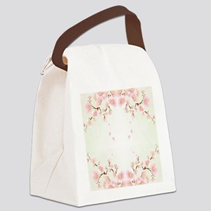 Cherry Blossom OIn Pink And White Canvas Lunch Bag
