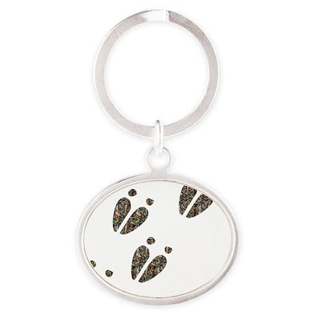 Deer Track Oval Keychain