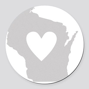 Heart Wisconsin state silhouette Round Car Magnet
