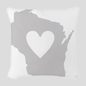 Heart Wisconsin state silhouet Woven Throw Pillow