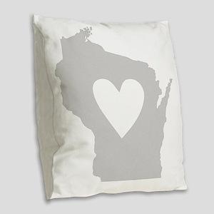 Heart Wisconsin state silhouet Burlap Throw Pillow