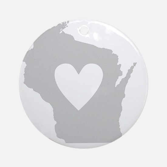 Heart Wisconsin state silhouette Round Ornament