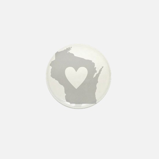 Heart Wisconsin state silhouette Mini Button
