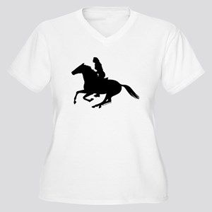 Horse Rider. Sexy Woman Women's Plus Size V-Neck T