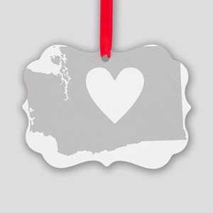Heart Washington state silhouette Picture Ornament