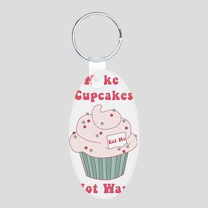 Make Cupcakes Not War Aluminum Oval Keychain