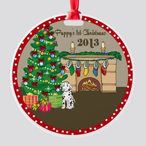 2013 Dalmatians 1St Christmas Round Ornament
