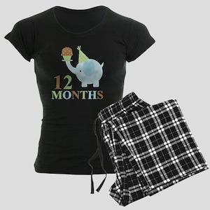 12 Months Baby Elephant Women's Dark Pajamas