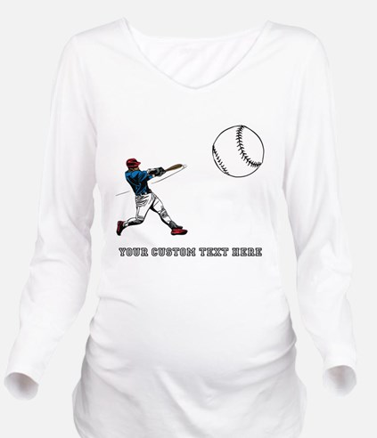 Baseball Player with Custom Text Long Sleeve Mater