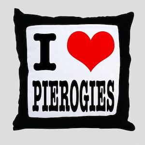 I Heart (Love) Pierogies Throw Pillow