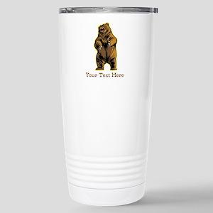Bear. Custom Text. Stainless Steel Travel Mug