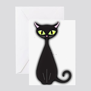 Black Cat Retro Greeting Cards
