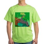 T-Rex Pole Vault Green T-Shirt