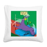 T-Rex Pole Vault Square Canvas Pillow