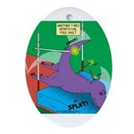 T-Rex Pole Vault Oval Ornament
