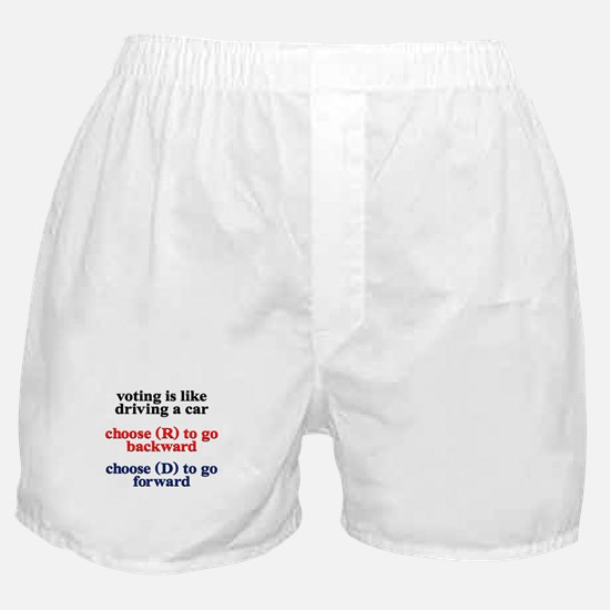 Voting Is Like Driving A Car Boxer Shorts