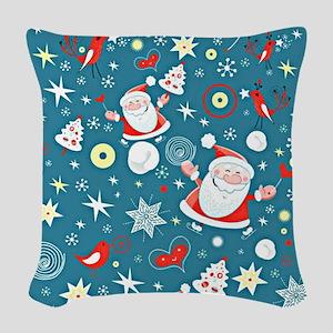 Christmas Santa Pattern Woven Throw Pillow