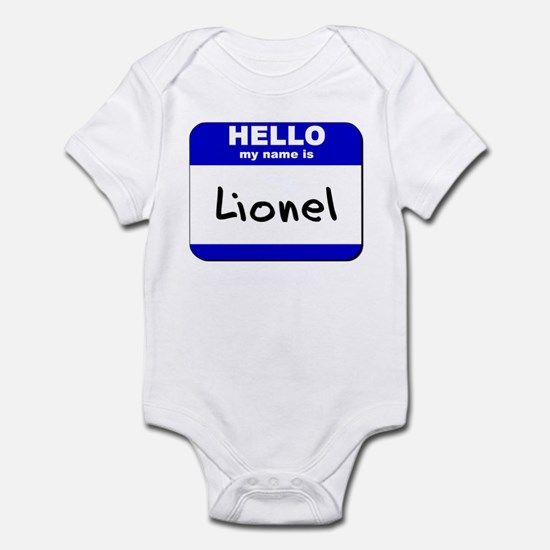 hello my name is lionel  Infant Bodysuit