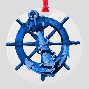 Blue Ship Anchor And Helm Round Ornament