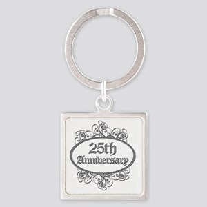 25th Aniversary (Engraved) Square Keychain