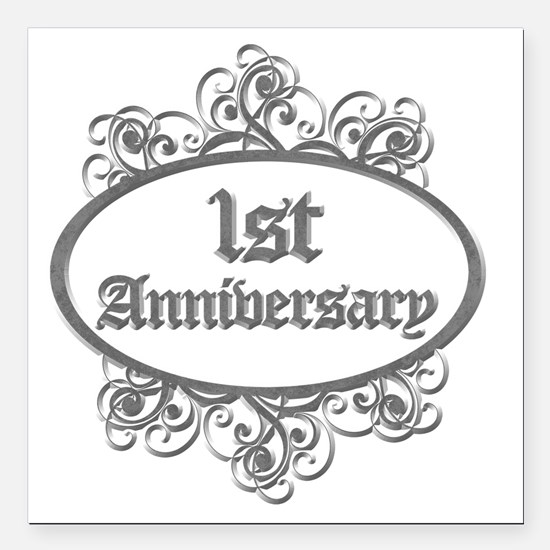 """1st Aniversary (Engraved Square Car Magnet 3"""" x 3"""""""