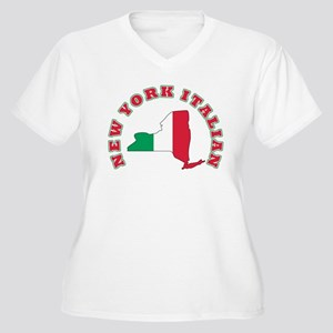New York Italian Women's Plus Size V-Neck T-Shirt