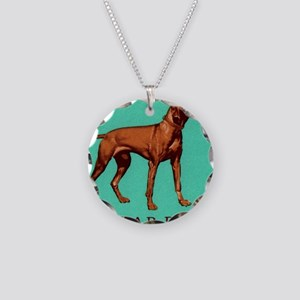 1967 Hungary Vizsla Dog Post Necklace Circle Charm