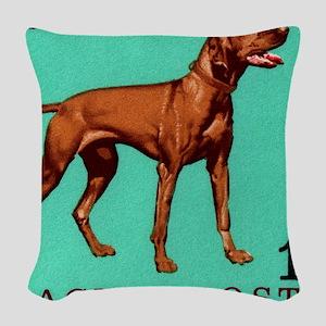 1967 Hungary Vizsla Dog Postag Woven Throw Pillow