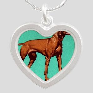 1967 Hungary Vizsla Dog Post Silver Heart Necklace