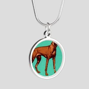 1967 Hungary Vizsla Dog Post Silver Round Necklace