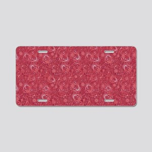 Red Swirling Paisley Patter Aluminum License Plate