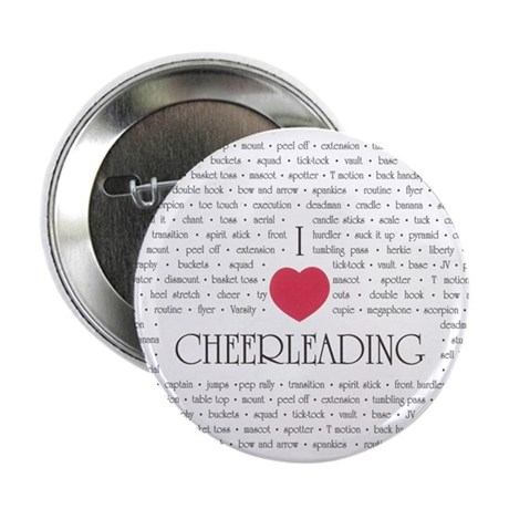 """I Love Cheerleading 2.25"""" Button (10 pack)"""