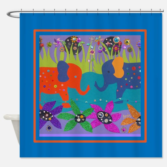 Colorful Elephants in Water Shower Curtain