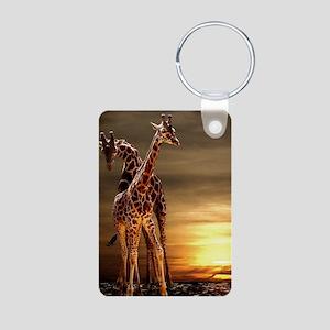 Giraffes Aluminum Photo Keychain