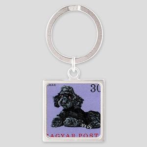 Vintage 1967 Hungary Poodle Dog Po Square Keychain