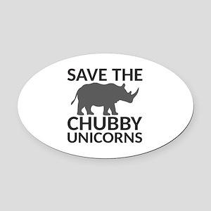 Save the Chubby Unicorns Oval Car Magnet